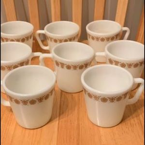 Pyrex Butterfly Gold D Ring Mugs Set of 8